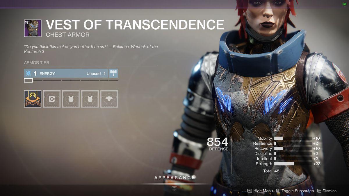 Destiny 2's Vest of Transcendence