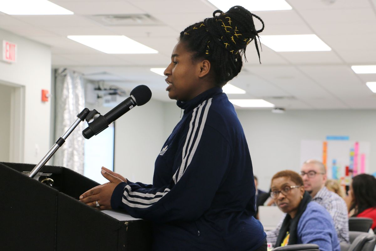 """Sierra Etes, the student-body president at Science Park High School, told the Newark Board of Education  that some students have described a """"culturally insensitive climate"""" at the school."""