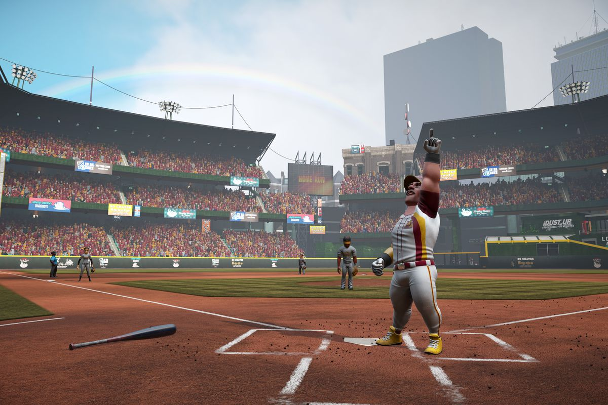 a player standing at home plate celebrates after scoring in Super Mega Baseball 3