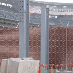 """""""Basket"""" brackets now attached to the top of the right-field bleacher wall -"""