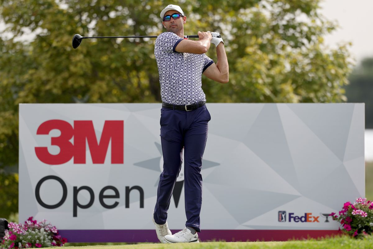 Cameron Tringale plays his shot from the first tee during the First Round of the 3M Open at TPC Twin Cities on July 22, 2021 in Blaine, Minnesota.