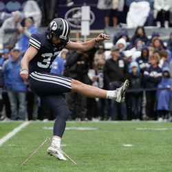 BYU kicker Justen Smith warms up before competing against Boise State during an NCAA college football game at LaVell Edwards Stadium in Provo on Saturday, Oct. 9, 2021.