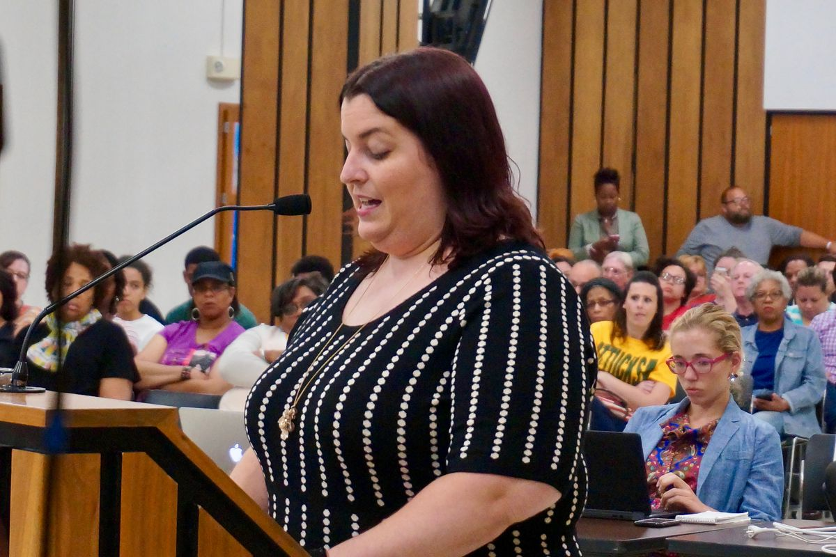 Teacher Tina Ahlgren spoke to the Indianapolis Public Schools Board in June about the importance of making the high school closing process easier for teachers.