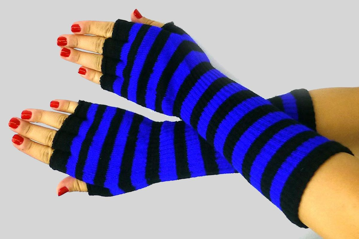 Blue and black striped gloves