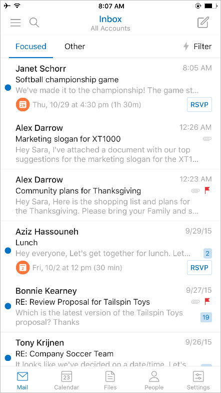 Events in Outlook for iOS