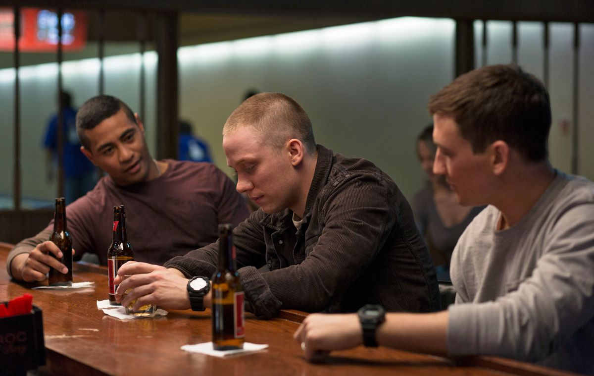 Beulah Koale, Joe Cole, and Miles Teller in Thank You For Your Service