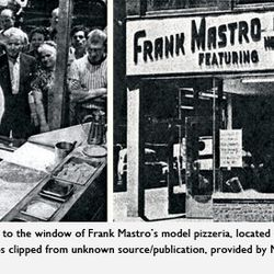"""Frank Mastro's Model Pizzeria on the corner of Bowery and Spring streets, circa 1953. <span class=""""credit""""> <a href=""""http://www.pizzacentric.com/journal/tag/statistics/"""">[Link]</a></span>"""