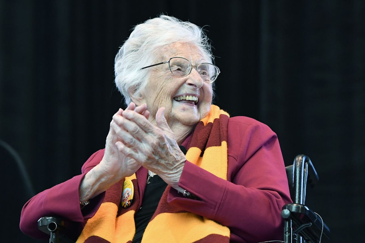Sister Jean Delores Schmidt of Loyola University Chicago reacts during the 100th Happy Birthday celebration for Sister Jean at Lake Shore Campus.