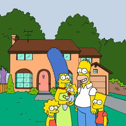 """FILE - This undated frame from the Fox series """"The Simpsons,"""" shows the popular cartoon family posing in front of their home, from left, Lisa , Marge , Maggie, Homer and Bart Simpson. Television networks are masters of self-promotion, so it's no surprise that Fox is carving out two prime-time hours Sunday April 22, 2012 to celebrate its 25th year"""