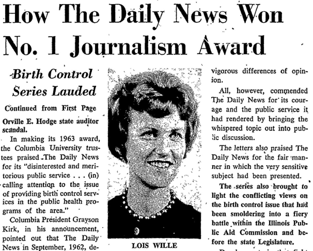 From the May 7, 1963, story on the Pulitzer Prize for meritorious public service going to the Daily News for Lois Wille's series.