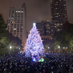 The City of Chicago's official Christmas tree  in Millennium Park. | Victor Hilitski/For the Sun-Times