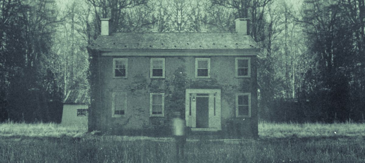 The Book of Accidents cover crop: haunted house and creepy girl