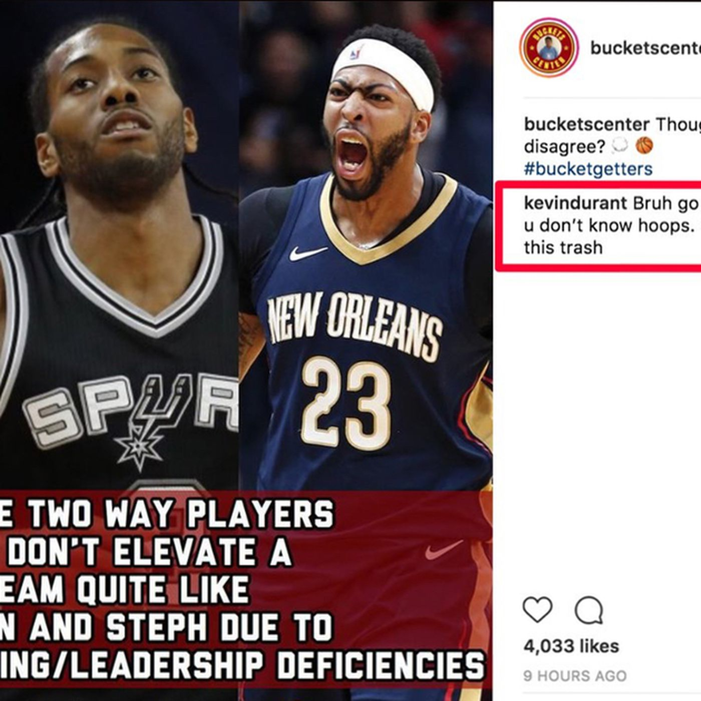 Kevin Durant s using his real Instagram account to argue with people now -  SBNation.com 5a0317b20