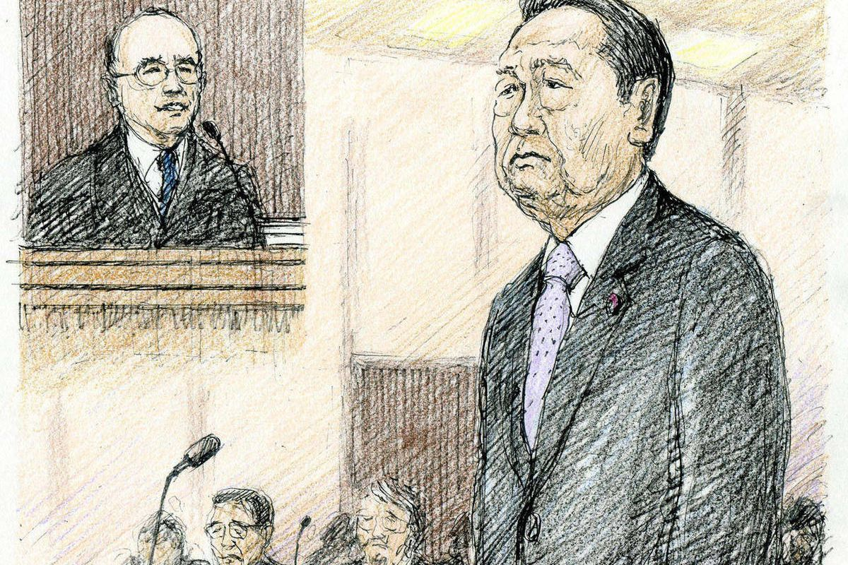 In this courtroom sketch, Democratic Party of Japan's veteran Ichiro Ozawa listens as the chief judge hands down a not guilty verdict at the Tokyo District Court in Tokyo Thursday, April 26, 2012. Ozawa was acquitted Thursday in a political funding scanda