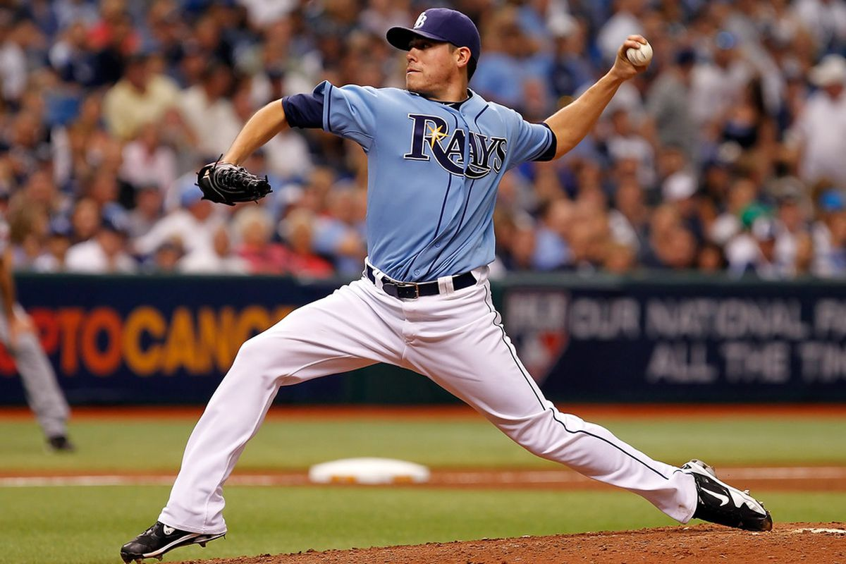 Pitcher Matt Moore of the Tampa Bay Rays pitches against the Texas Rangers during Game Four of the American League Division Series at Tropicana Field on October 4, 2011 in St. Petersburg, Florida.  (Photo by J. Meric/Getty Images)