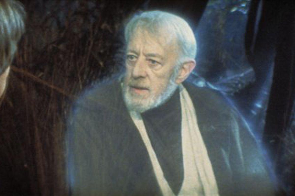 Obi-Wan Kenobi counsels Luke Skywalker in 1983's Return of the Jedi