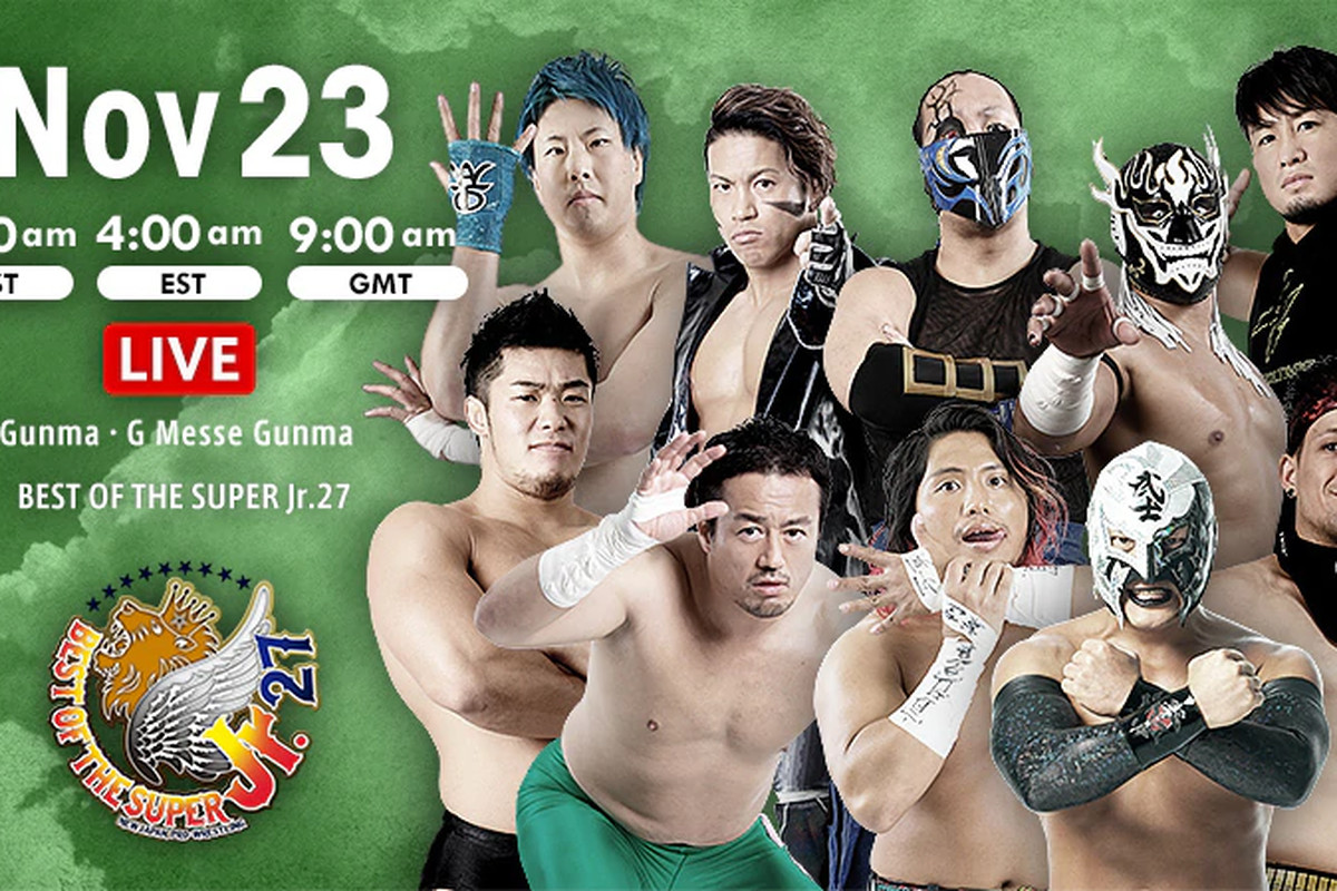 Lineup graphic for night seven of NJPW Best of the Super Jr. 27