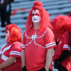 UW football fans prior to the game in Champaign-Urbana. I am reliably informed this look is a take on KISS.