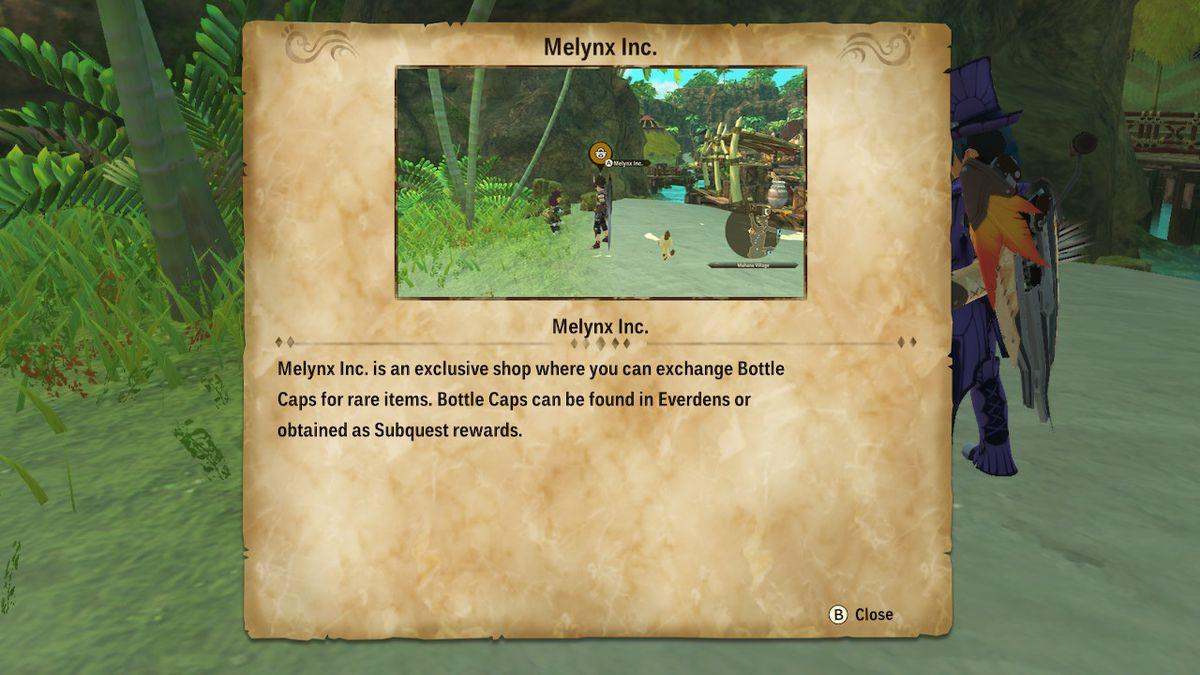 Um cartão de informações sobre a Melnyx Inc. em Monster Hunter Stories 2: Wings of Ruin