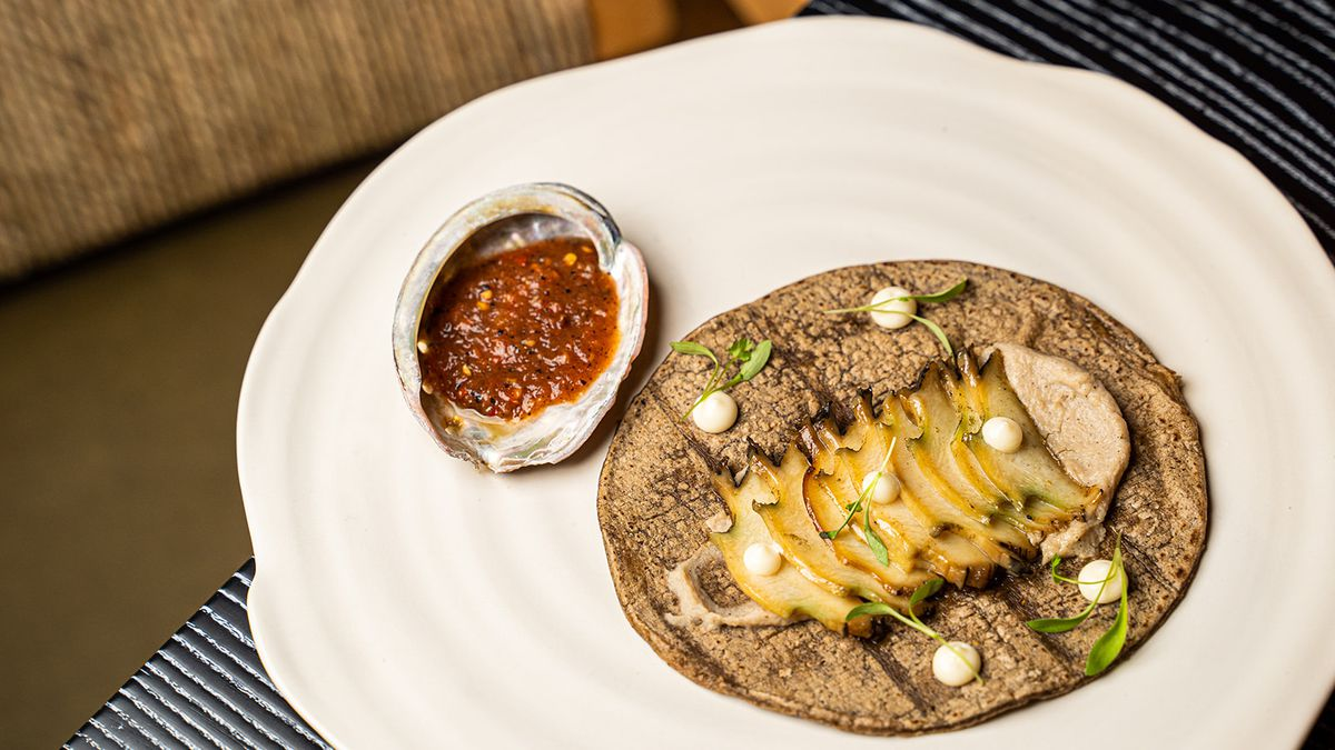 A tortilla topped with slices of abalone next to a small abalone shell filled with salsa.