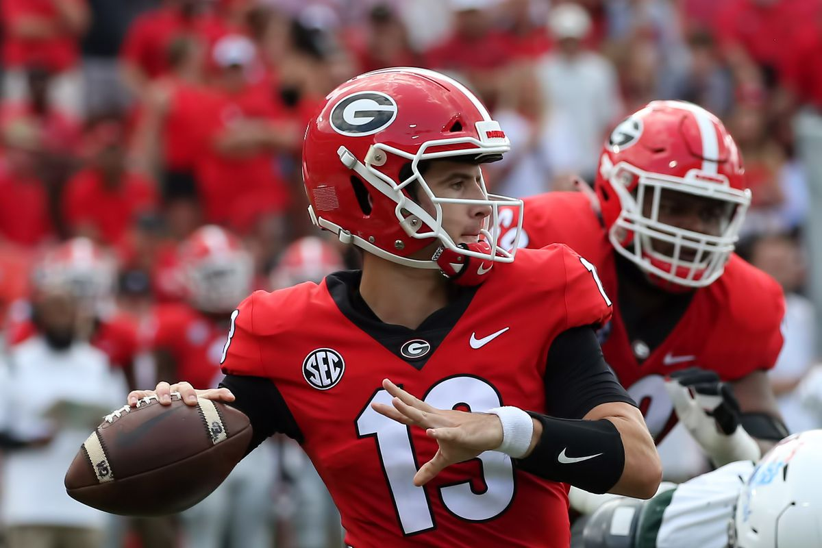 Georgia Bulldogs quarterback Stetson Bennett during the game between the UAB Blazers and the Georgia Bulldogs on September 11, 2021 at Sanford Stadium in Athens, Georgia.