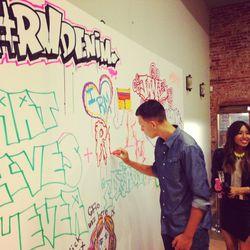 The official Rebecca Minkoff DENIM graffiti wall.