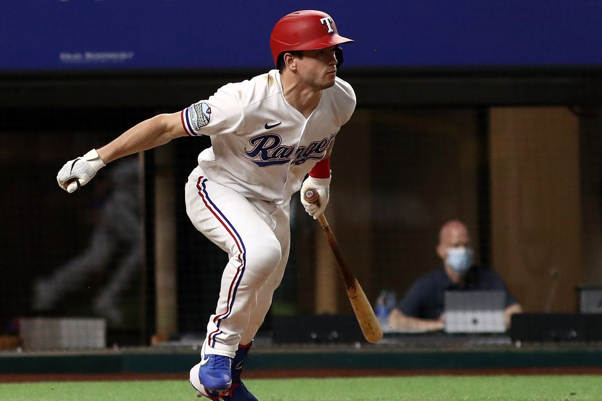 Nick Solak #15 of the Texas Rangers at Globe Life Field on August 11, 2020 in Arlington, Texas.
