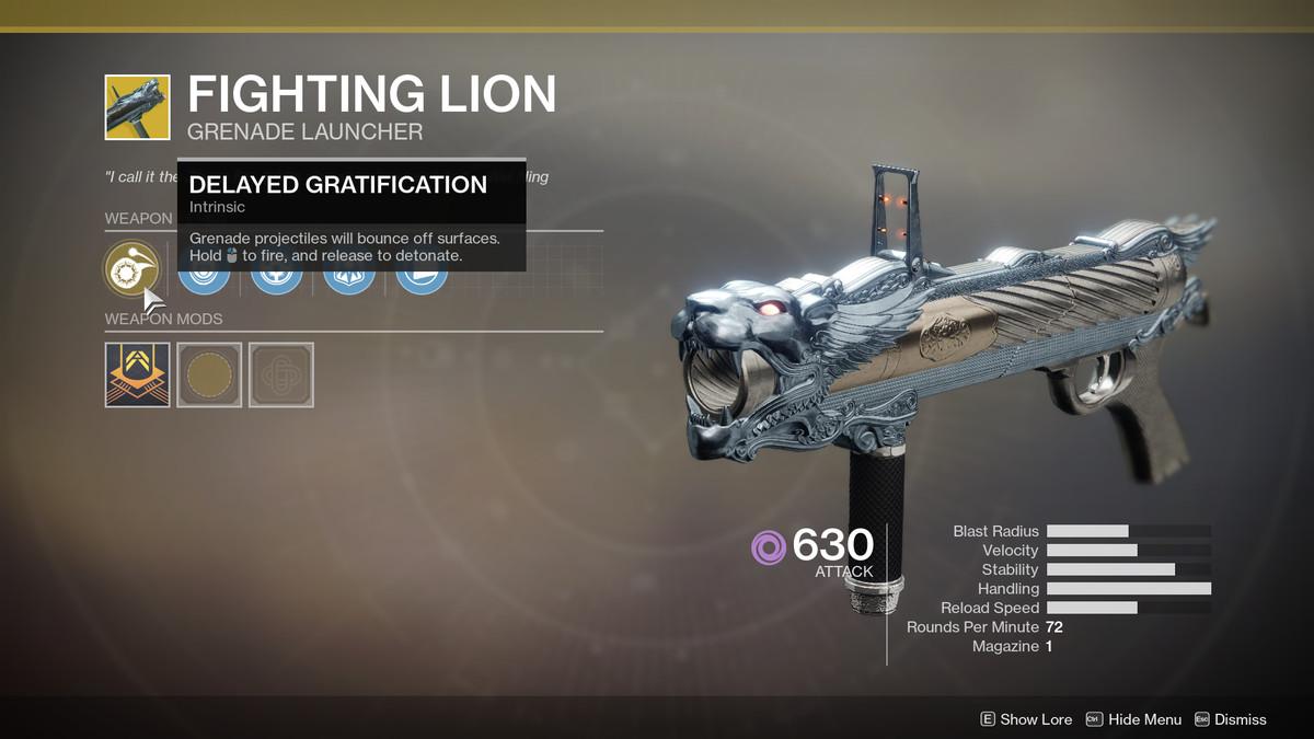 Fighting Lion Exotic Destiny 2