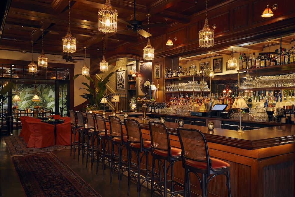 A golden-lit bar.