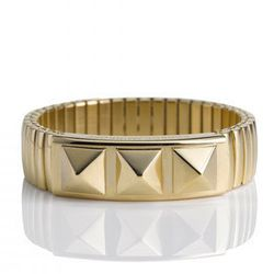 "<b><a href=""http://www.rebeccaminkoff.com/shop/jewelry/stud-watch-band-bracelet-gold.html"">Rebecca Minkoff</a></b> studded watch band bracelet, $128"