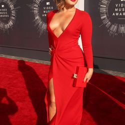 Demi Lovato wore all the plunging red neckline.