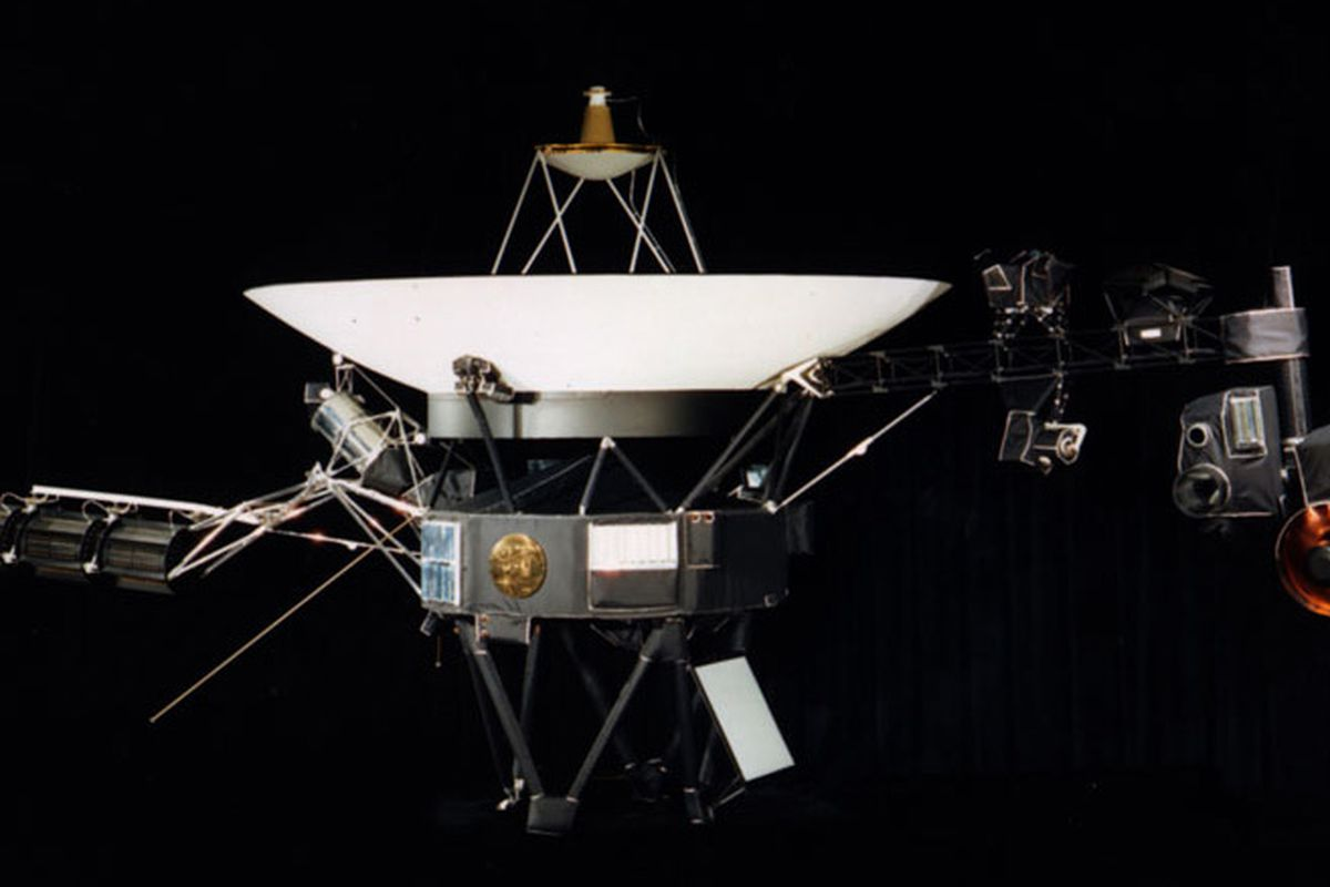 The Voyager 1 spacecraft is shown against a black background before it's launch on Sept. 5, 1977.