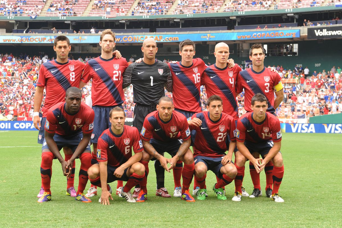 WASHINGTON, DC - JUNE 19:   The United States team poses for photo before the 2011 Gold Cup Quarterfinals match against Jamaica on June 19, 2011 at RFK Stadium in Washington, D.C.  The Nationals won 8-6.  (Photo by Mitchell Layton/Getty Images)
