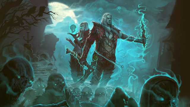 Artwork featuring the female and male Necromancers in Diablo 3