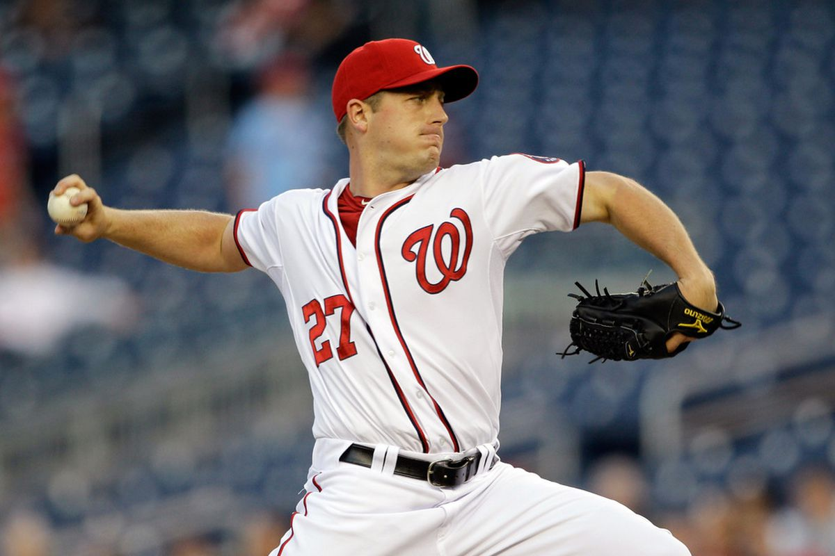 WASHINGTON, DC - APRIL 14:  Starting pitcher Jordan Zimmermann #27 of the Washington Nationals delivers to a Philadelphia Phillies batter during the first inning at Nationals Park on April 14, 2011 in Washington, DC.  (Photo by Rob Carr/Getty Images)
