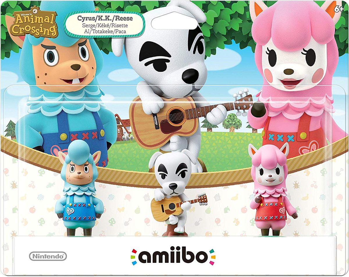 Animal Crossing amiibo of Cyrus, K.K. Slider, and Reese