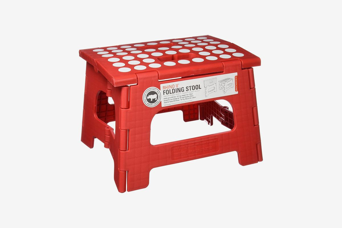 Red stool with white dots.