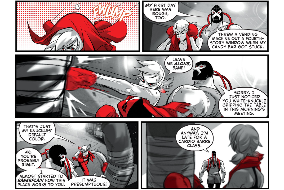 """In the Legion of Doom gym, Bane approaches Harley Quinn to commiserate over having a tough first day. She rejects his overtures. """"You're probably right,"""" he responds, """"I almost started to Banesplain how this place works to you. It was presumptuous!"""" in Harley Quinn Black + White + Red #13, DC Comics (2020)."""
