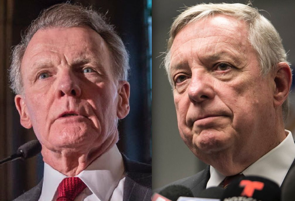 House Speaker Mike Madigan, left, addressing the City Club of Chicago at the University Club of Chicago in 2015. File Photo. | Rich Hein/Sun-Times; U.S. Sen. Dick Durbin, right, talks to reporters in Chicago in January. File Photo.| Ashlee Rezin/Sun-Times
