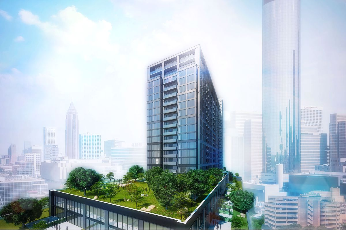A rendering of a new apartment tower in downtown Atlanta.