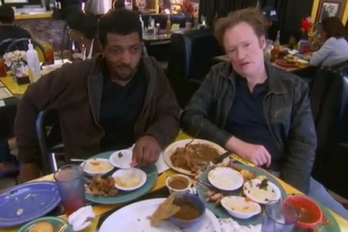 Watch Conan Put Gravy On Everything At A Soul Food Restaurant In Los