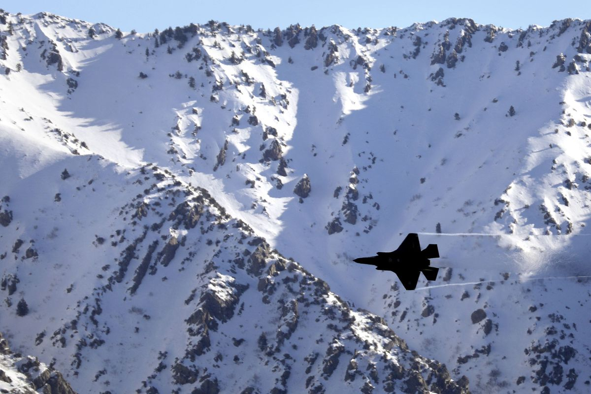 """Capt. Kristin """"BEO"""" Wolfe flies an F-35A Lightning II while training for upcoming airshows at Hill Air Force Base on Thursday, March 5, 2020."""