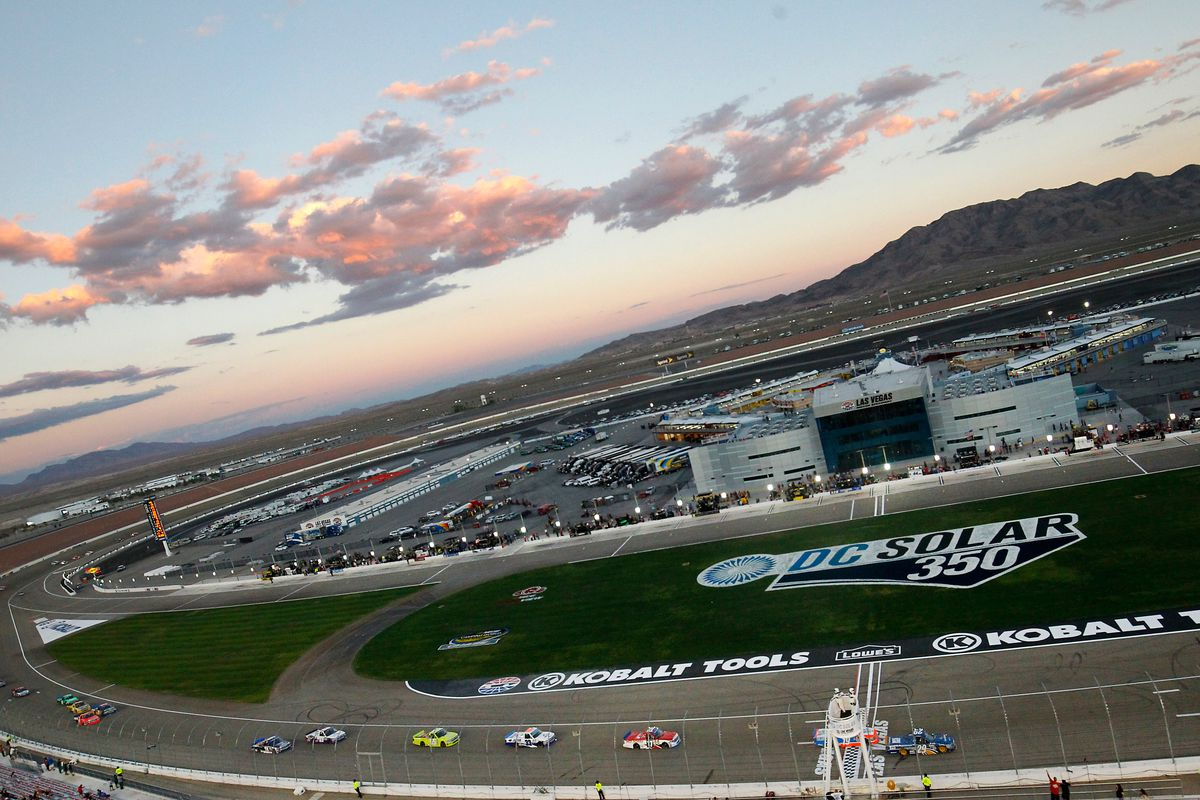 General overview of the infield during the DC Solar 350 NASCAR Camping World Truck Series race at Las Vegas Motor Speedway in Las Vegas, NV.