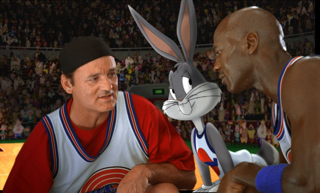 Bill Murray, Bugs Bunny, and Michael Jordan on the court in Space Jam