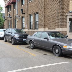 3:23 p.m. VIP motorcade parked on Seminary, outside of the firehouse -