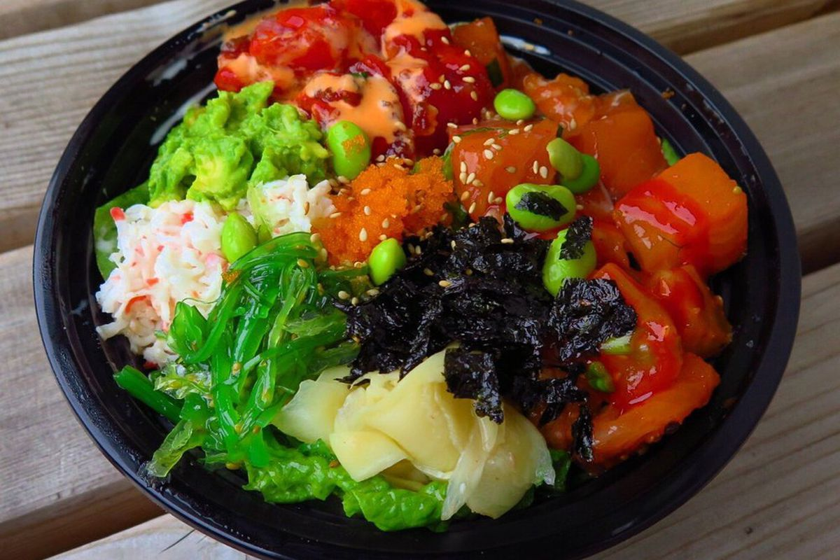 Tuna, salmon, and red snapper poke bowl.