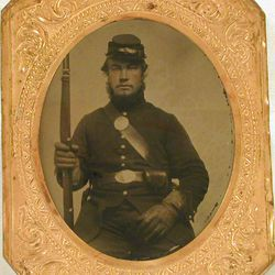 """In this photo providedby the Vermont Historical Society, a tintype of William Scott is seen. Tuesday marks the 150th anniversary of the death of William Scott, the Groton farm boy-turned-soldier was sentenced to death for falling asleep on guard duty outside Washington. Some historians feel Vermont's """"sleeping sentinel"""" was the most famous private soldier to serve in the Civil War."""