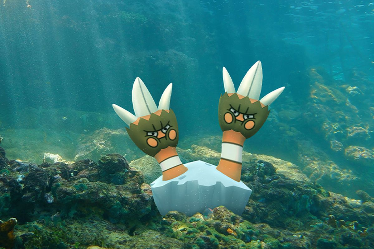 Binacle, a barnacle Pokémon, sits at the bottom of a real ocean