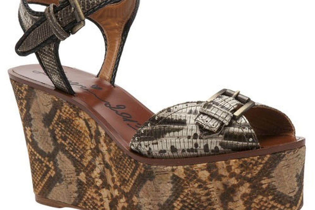 """Lanvin snake print wedge, $785 at <a href=""""http://www.satineboutique.com/shopping/women/lanvin-snake-print-wedge-item-10329175.aspx"""">Satine</a>."""