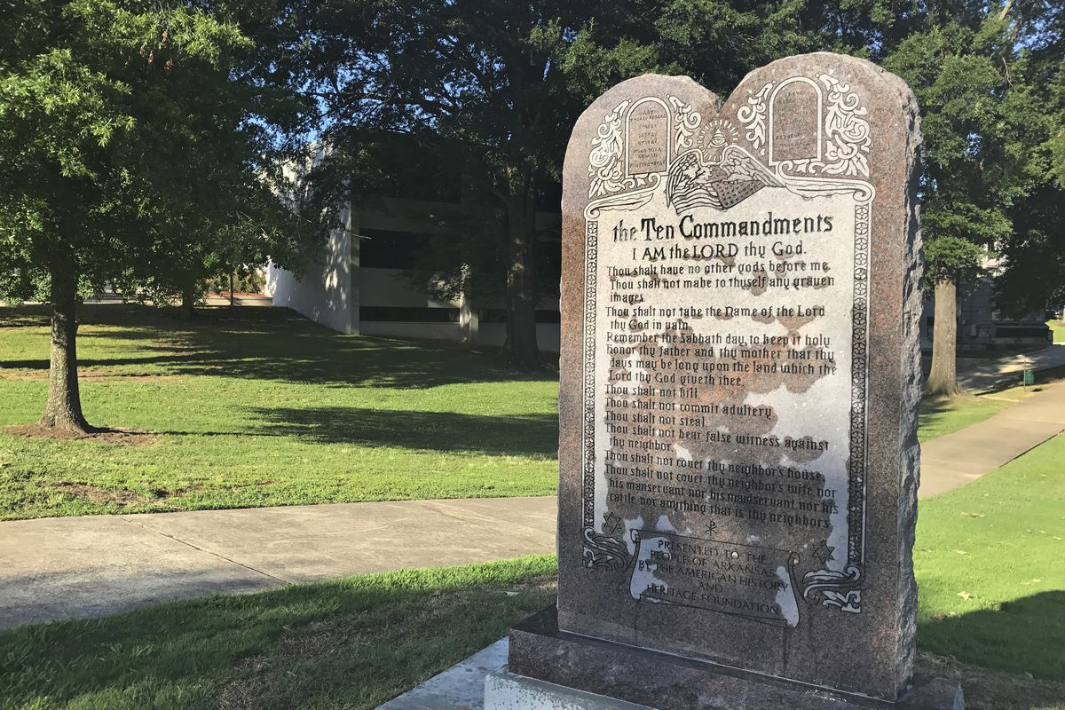 A 6-foot-tall Ten Commandments monument is seen on the Arkansas Capitol grounds Tuesday, June 27, 2017. Americans have a long history of upholding the seventh of the Ten Commandments, strongly opposing adultery. Indeed, the 2016 General Social Survey reve